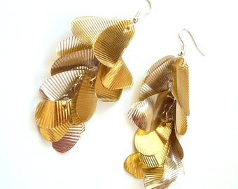 Long gold earrings made of recycled plastic contemporary earrings sustainable jewelry gypsy earrings upcycled jewelry extra long earrings