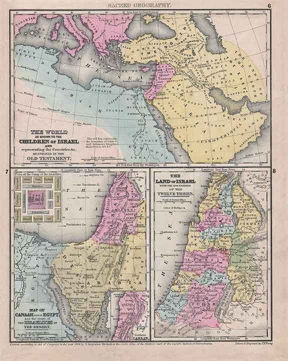 Israel 1844. Antique Tri-Part Map of Ancient Israel by J.H. Young - MAP PRINT