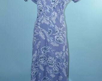 Vintage 80s Fitted Floral Deep V Neckline Festival Grunge Midi Dress S/M