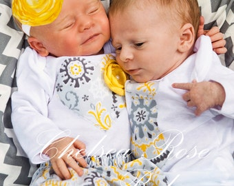 Twins Outfit, 2 matching Bodysuits, INCLUDES skirt and headband, yellow and grey twins outfits, sibling outfits
