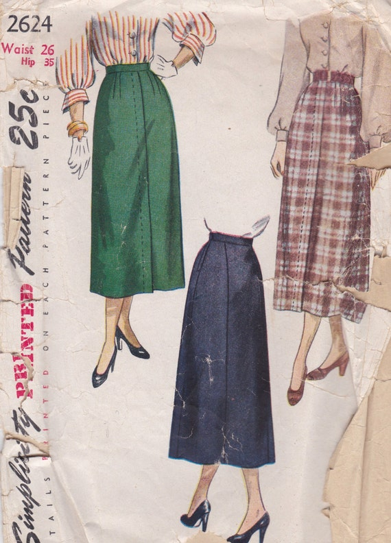 items similar to 1940s vintage pencil skirt pattern