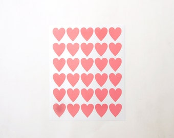 "Heart Stickers, Pink Heart Stickers, Paper Stickers, Size 23x25mm or 1"" inch Heart Sticker, Set of 5 sheets or 150 hearts"