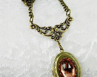 Locket-Necklace-Antique Brass Locket-Vintage-Peach-Faceted