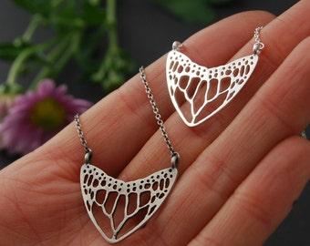 Monarch skeleton wing necklace - sterling silver butterfly necklace