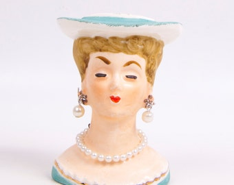 Vintage Lady Head Vase Doll Planter Japan Miniature Lady Bust Figurine Aqua Blue Hat Pearl Necklace Pearl Earrings