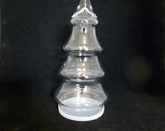 Clear Glass Christmas Tree Shaped Jar Candy Dish with Plastic Base
