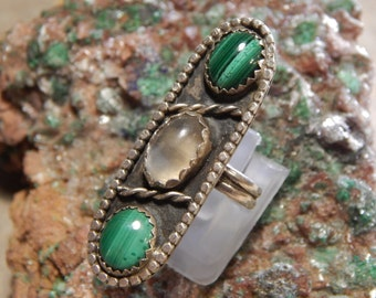 Native American Sterling Malachite Moonstone Ring
