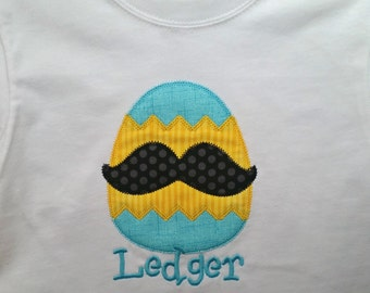 Embroidered Mustache Egg Applique Tee or Baby Bodysuit - Free Personalization