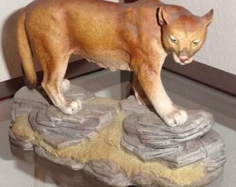 Andrea By SADEK Made In Japan HP Handpainted Porcelain Figural PUMA Wild Cat Animal Figurine Figure Statue 5616