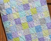 Baby Boy Quilt, Gender Neutral Bedding, From Bump to Baby, Baby Quilt, Baby Boy Quilt, Crib Quilt, Pastel Quilt, Blue Green Purple White