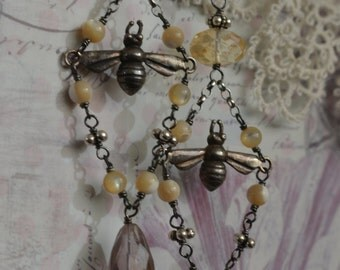 Vintage silver bee dangles with citrine, ametrine, and mother of pearl