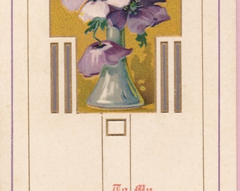 """Ca. 1908 """"Vase of Flowers"""" Valentine Greetings Postcard - 359"""