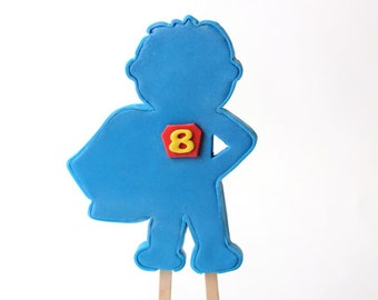 Superhero fondant cake topper.  Superhero cake topper set. Superhero silhouette cake topper set.