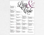 Wedding Seating Chart (Stated) - Digital File, DIY, Printable, PDF, Typography, Calligraphy, Purple Wedding, Ampersand, Rush Service, jpeg