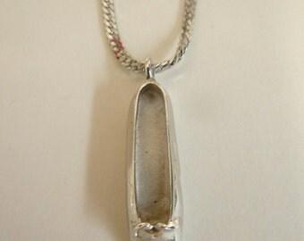 Large Silver Ballet Shoe Pendant Necklace