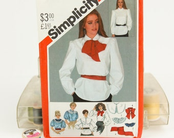 Misses Size 14, Blouse w/ high round detachable collar and tie sash, Simplicity (5548) Vintage 1980s Sewing Pattern