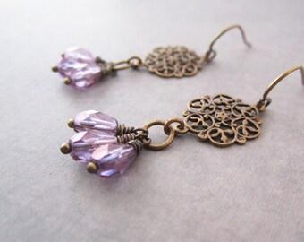 Dangling Earrings - Purple - Lace Filigree