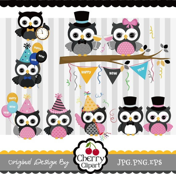 New Year Owls New Year Design Elements clip art set Personal