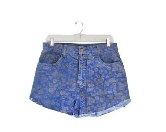 Boho Shorts Bohemian Shorts 90s Shorts High Waste Shorts High Waist Shorts Cut Off Jean Shorts Cutoff Jean Shorts Floral Shorts Denim Shorts