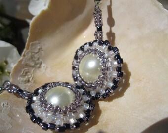 Bezeled Pearl Earrings