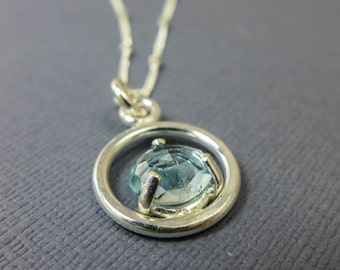 Freeform Rose Cut Aquamarine Sterling Silver Necklace - Birthstone for March