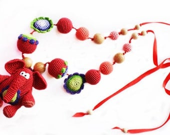 Nursing necklace Teething Necklace Baby toy Red Elephant