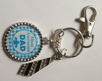 Dad Keyring Keychain with Tie Charm and Lobster Swivel Clasp