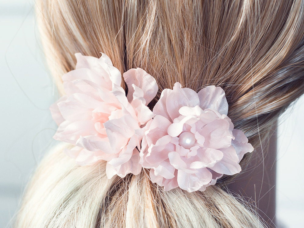 Wedding Hair Flowers Pink : Blush bridal hair flower pink clip wedding