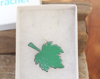Green Enamel Leaf Necklace, One off pendant with Sterling Silver Chain (other colours available)