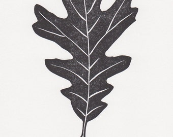 "Block print: White Oak leaf - limited edition hand pulled fine art block print, linocut print (5 x 7"")"