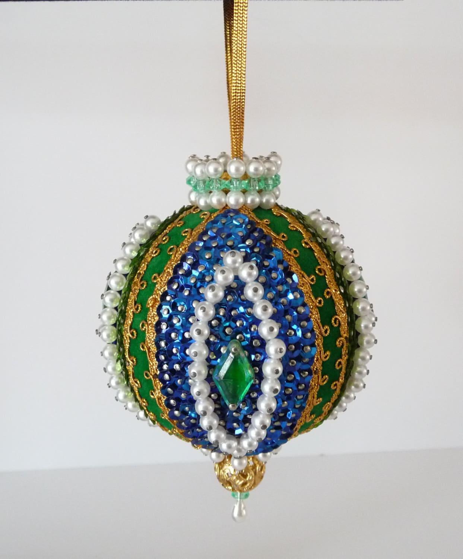 Vintage Handmade Beaded Ornament Blue Gold Green White
