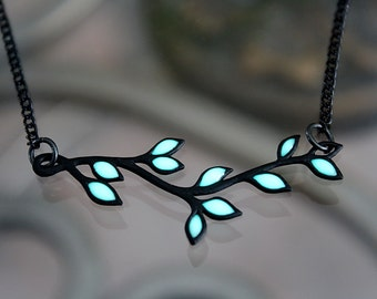 Black LEAVES branch necklace that GLOW in the DARK