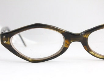 Vintage 50's Angular Tortoise Shell Cat Eyeglasses