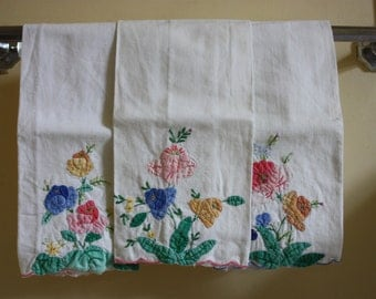linen towels, white with pastel flowers, set of 3