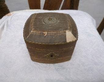 Antique French Folk Art Wood  Box Circa 1900 Aged Patina Super Distressed