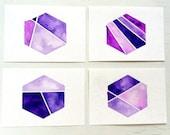 Color Block Hexagon Watercolor ACEO Set / Geometric Collection / Nate Berkus inspired, #hexagon, #geometric, #purple, #ombre, #colorblock