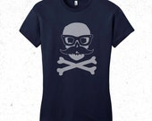 "Skull tshirt women's ""Incognito"" skull with false moustache and glasses"