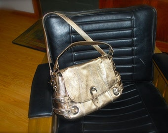 SALE was 85.00 Bodhi Golden Leather Handbag Is Nearly Mint with Straps and Grommets Dustbag Large