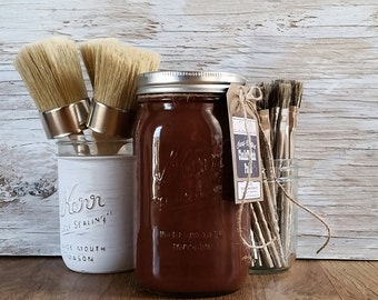 Handmade ChalkFinish Paint, LibraryBrown, Chalk Paint, Painted Furniture, Furniture, Shabby Chic Furniture, Painted Mason Jars, Wax Brushes