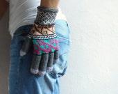 Women Gloves, Hand Knit Wool Gloves, Colorful Gloves, Warm Gloves, Hand Warmer