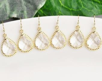 Clear Earrings - SET OF 4 - Bridemaids Earrings - Gold Teardrop Earrings - Crystal Earrings - Bridesmaid Gifts Jewelry - Wedding Jewelry