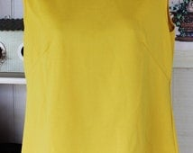 60's Mustard yellow Polyester tank top with mock turtleneck