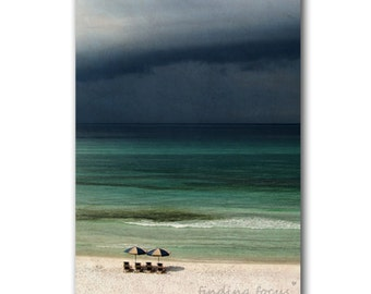Storm Approaches Print, Stormy Seas Gray Clouds, Pale Aqua Blue Turquoise Ocean, Beach Umbrellas, Rain Coastal Cottage Decor Art Photography