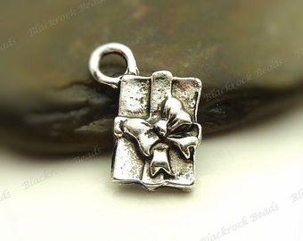 Bulk 30 Present or Gift Charms 15x12mm Antique Silver Tone Metal - Wrapped Gift Charms, Pendants, Design on Back - BL1
