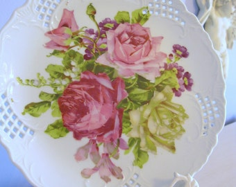 """Roses Plate 8.5"""" Vintage China Pink Green Purple Porcelain Lattice Edge Romantic Country Shabby Chic French Cottage Farmhouse Style Decor"""