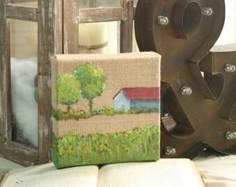 Miniature Barn Oil Painting on Burlap Canvas