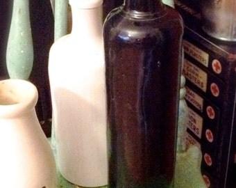 Vintage Black Ironstone Bottle, Spirits, Moonshine, farmhouse Black stoneware Ale Jug