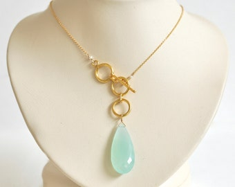 Aqua Chalcedony Necklace- Gold Filled Necklace- Aqua Blue Teardrop Gemstone- Gold Filled Lariat - Aqua Blue Chalcedony Lariat- Gold Vermeil