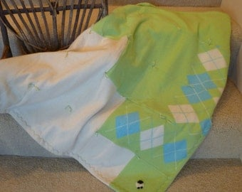 Cashmere Baby Quilt with Sheep Applique  - Pale Lime Green with Turquoise Argyle and Cream  Recycled Sweaters