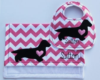 Dachshund Bib and Burp Cloth Set, Monogrammed Dachshund Gift Set, Minky Bib and Burp Cloth Set